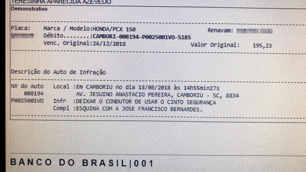 Morador de Brusque recebe multa por pilotar moto sem cinto de segurança ... c52080aada