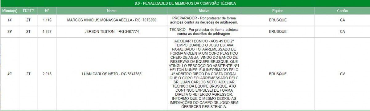 súmula Brusque Avaí agressão Helton Nunes