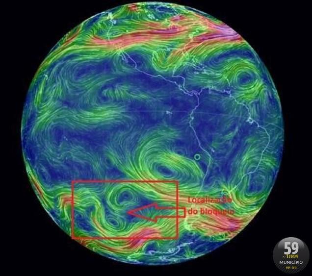 Mapa mostra o bloqueio da atmosfera no Pacífico Sul